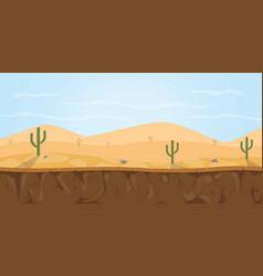 Game background desert sahara with cactus tree vector