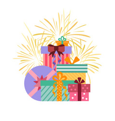 Gift boxes groupe in flat style vector