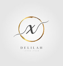 Gold elegant initial letter type x vector