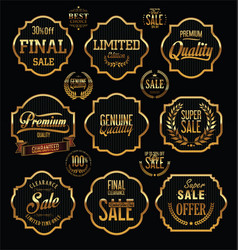 golden premium quality and guarantee labels with vector image