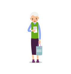 grandmother elderly woman stand and one hand vector image
