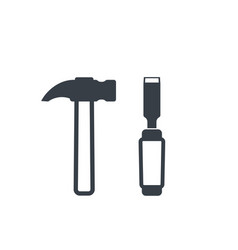 Hammer and chisel icons vector