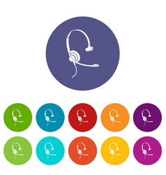 headphones with microphone icon simple style vector image