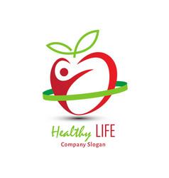 healthy life logo design vector image