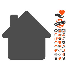 house icon with valentine bonus vector image