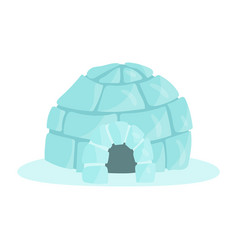 Igloo icy cold house built from ice blocks vector