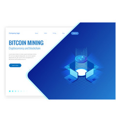 Isometric bitcoin mining concept cryptocurrency vector