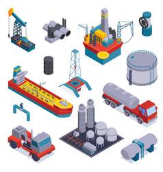 Isometric oil petroleum industry icon set vector