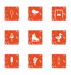 Kid reality icons set grunge style vector
