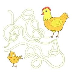 Labyrinth maze find a way chicken hen vector image