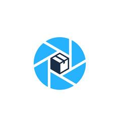 Lens box logo icon design vector