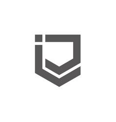 letter ij simple geometric line emblem logo vector image