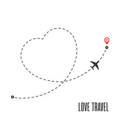 love travel route vector image