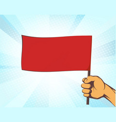 man holding in his hand a red flag vector image