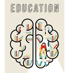Modern education design of brain with books vector