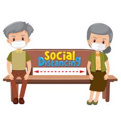 old couple cartoon character keeping social vector image