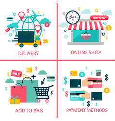 online shoppingand e-commerce flat vector image
