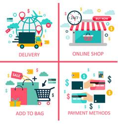 online shoppingand e-commerce flat vector image