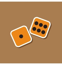 Paper sticker on stylish background dice lucky vector