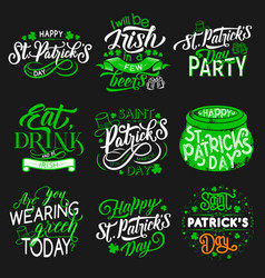 Patrick day party irish traditional holiday icons vector