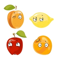 Peach lemon apple and orange faces vector