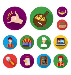 pizza and pizzeria flat icons in set collection vector image