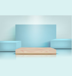 Podium for product presentation in pastel blue vector