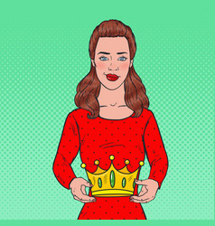 Pop art beautiful woman holding a crown vector