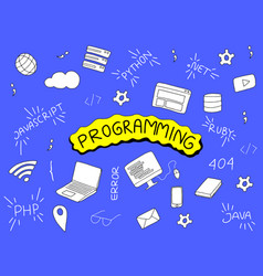 programming doodle with programmer tools and vector image