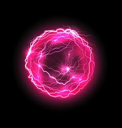 Purple energy ball with lightings vector
