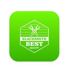 quality blacksmith icon green vector image
