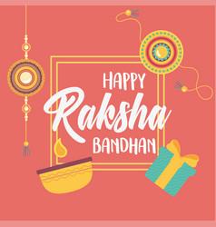 Raksha bandhan bracelets gift box and candle love vector
