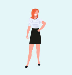 redhead woman standing pose casual female cartoon vector image