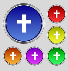 Religious cross Christian icon sign Round symbol vector