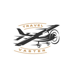 Retro vintage airplane with fast concept logo vector