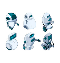 robots assistant colored isometric pictures vector image