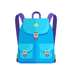 Rucksack unisex in blue colors with big pockets vector