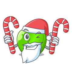 Santa with candy green smith apple isolated on vector