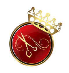scissors and a crown for hair and beauty salon vector image