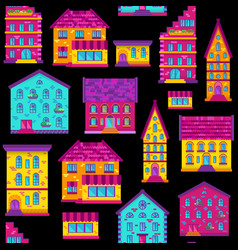 seamless flat house pattern-03 vector image