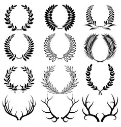 set laurel wreaths collection wreaths from vector image