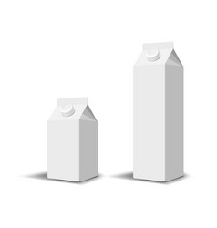 set of 2 blank milk or juice carton boxes vector image