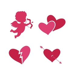 Set of cupid icons vector image