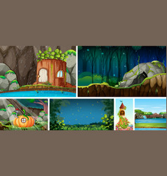Six different nature scene fantasy world vector