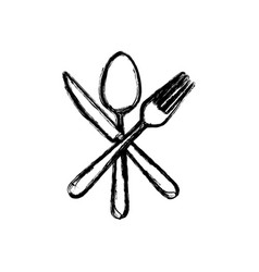 Sticker white cutlery icon vector