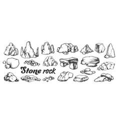 Stone rock gravel collection monochrome set vector