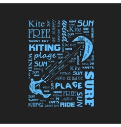 Surfer t-shirt graphics with kite poster vector image