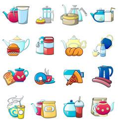Tea day icons set cartoon style vector