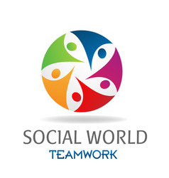 teamwork social world networking design vector image