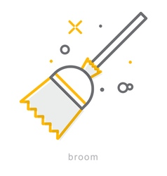Thin line icons Broom vector